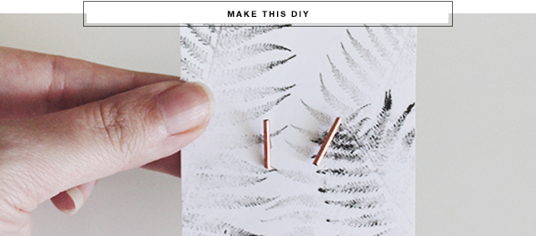 Easy diy copper bar earrings via Almost Makes Perfect.