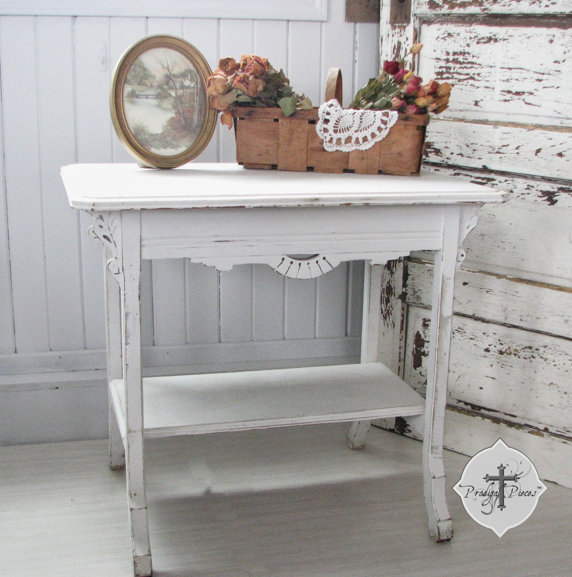 Antique Chippy White Side Accent Table with Hand Carved Corbels via http://www.prodigalpieces.com