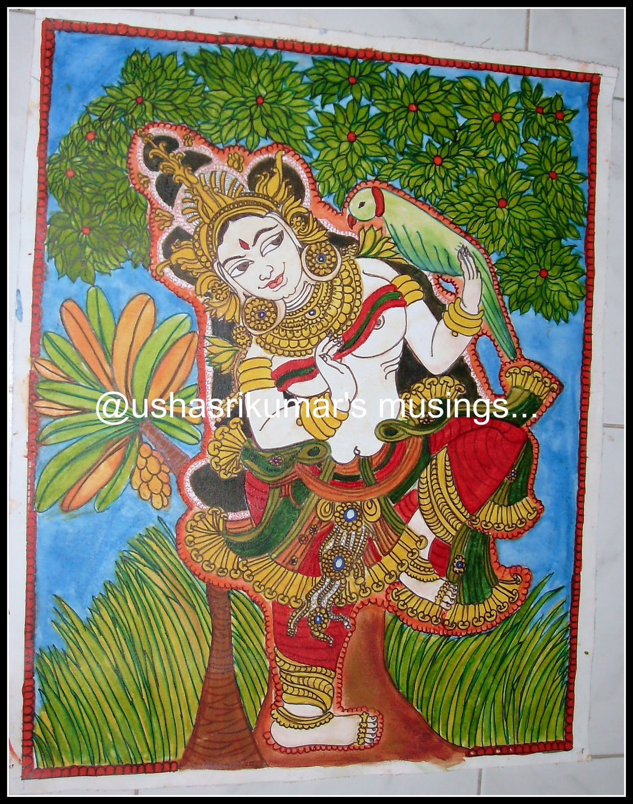 Usha srikumar 39 s musings waiting for someone a kerala mural for Buy kerala mural paintings online