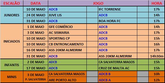 AGENDA - JOGOS OFICIAIS - MAIO 2015