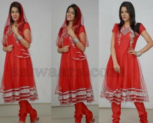 Sakshi Chowdary Red Salwar Kameez
