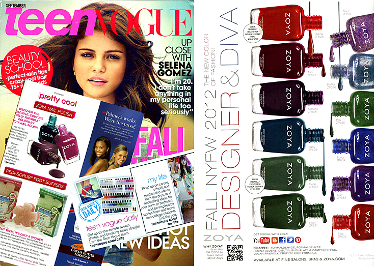 See Fall Zoya Nail Polish Color in Teen Vogue Magazine This Month ...