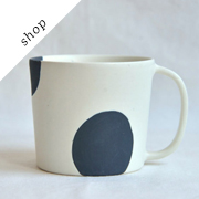 White Black Dot Mug by WakakoSenda