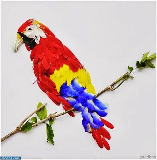 Menakjubkan Karya Seni Lukisan Burung Dari Kelopak Bunga