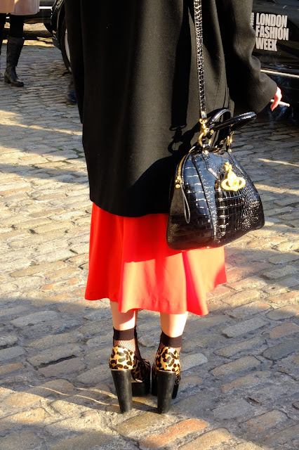 fashion setter at LFW AW12 weraing leopard shoes