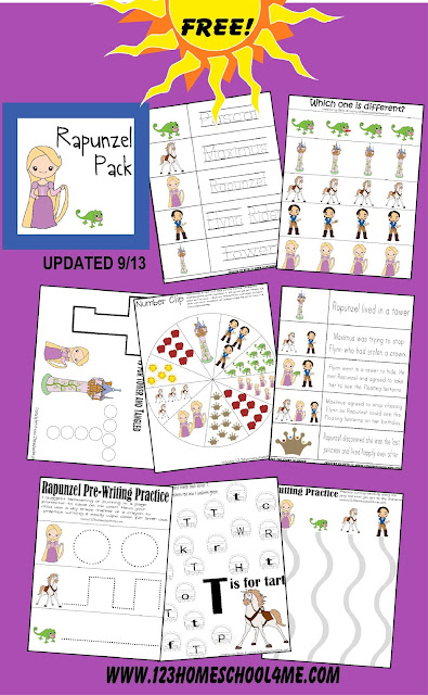 Free Educational Rapunzel Worksheets for Toddler, Preschool, and Kindergarten