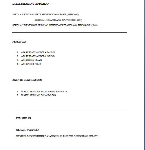 mamaalynn contoh resume untuk praktikal