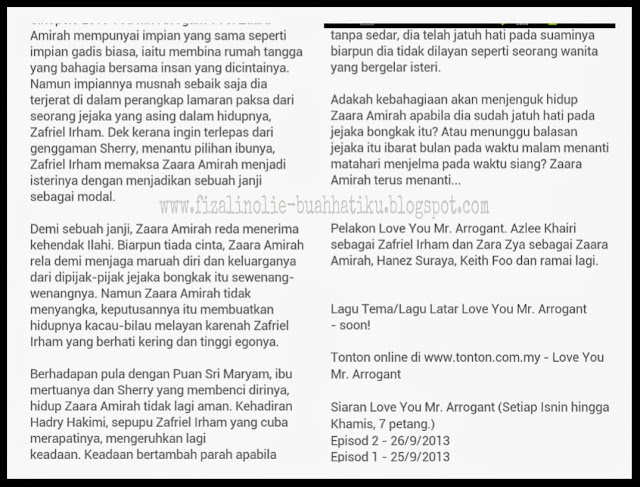 slot akasia terbaru, sinopsis love you mr.arrogant,