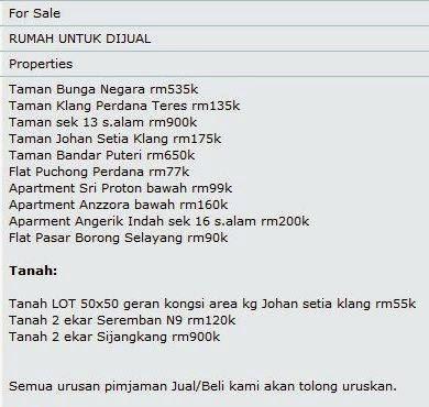 Senarai Rumah dan Tanah untuk Dijual Selangor