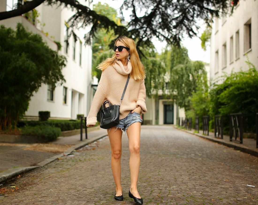denim shorts, knit, zara, oneteaspoon, chanel, céline, lara bohinc, streetstyle, fashion blogger, outfit