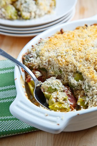 Brussels Sprouts with Smoked Bacon in a Mustard Cream Topped with a Parmesan Crust