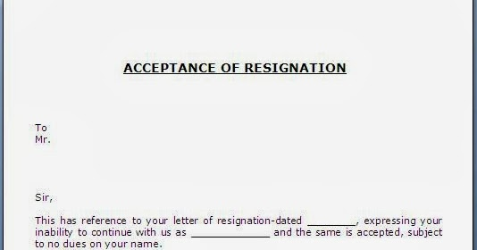 Resignation Acceptance Letter] Acceptance Of Resignation Template ...