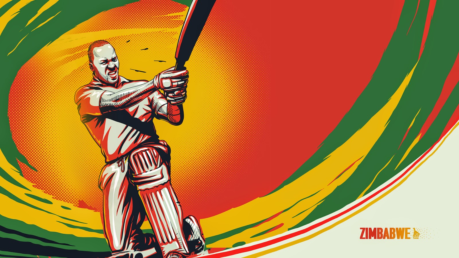 Hamilton Masakadza Zimbabwean cricketer illustration sketch