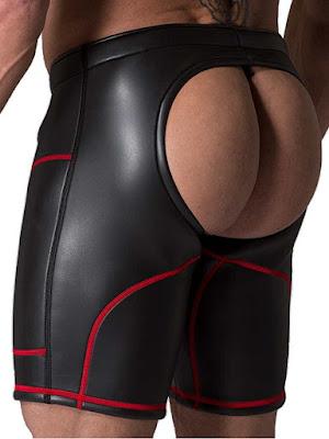 Neoprene Open Ass Long Shorts Black-Red Back Gayrado