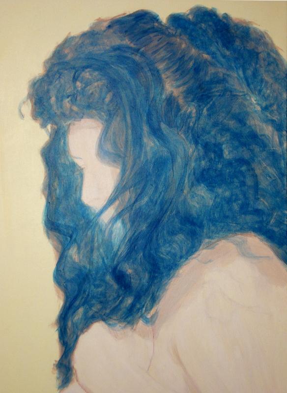 Marie - détail de la sous-couche en glacis bleus de la chevelure
