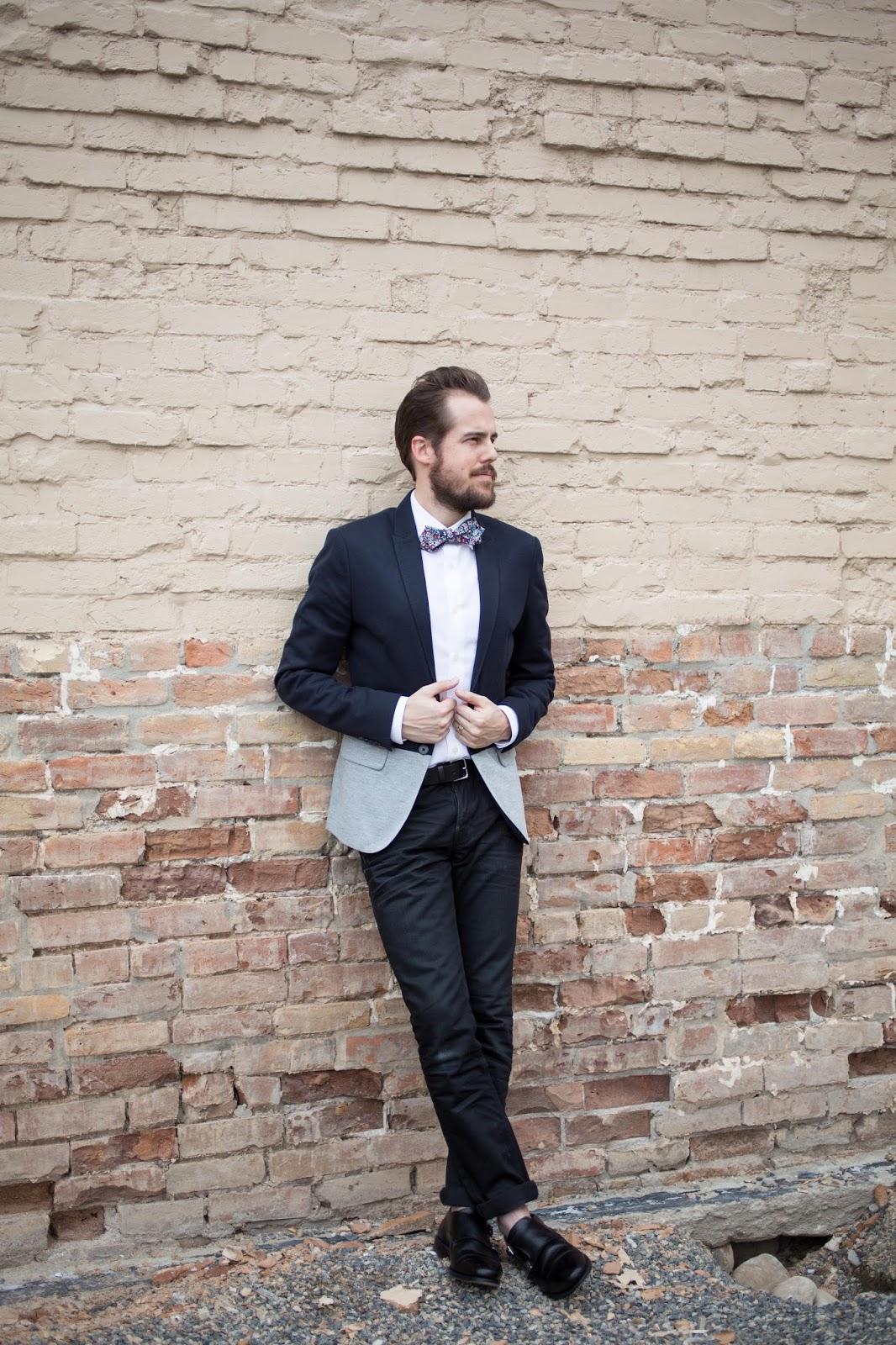 Menswear Weekend Causal Bow-tie Zara color block blazer All Saints denim