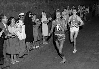 Olimpiadi di Roma 1960: Abebe Bikila nella maratona