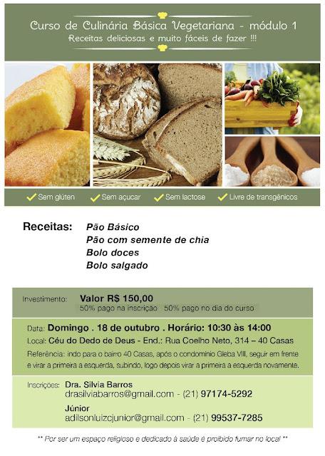Curso de Alimentação dia 18/10 em Teresópolis -Sem Glúten, sem Açúcar,sem Lactose Livre de Transgêncios