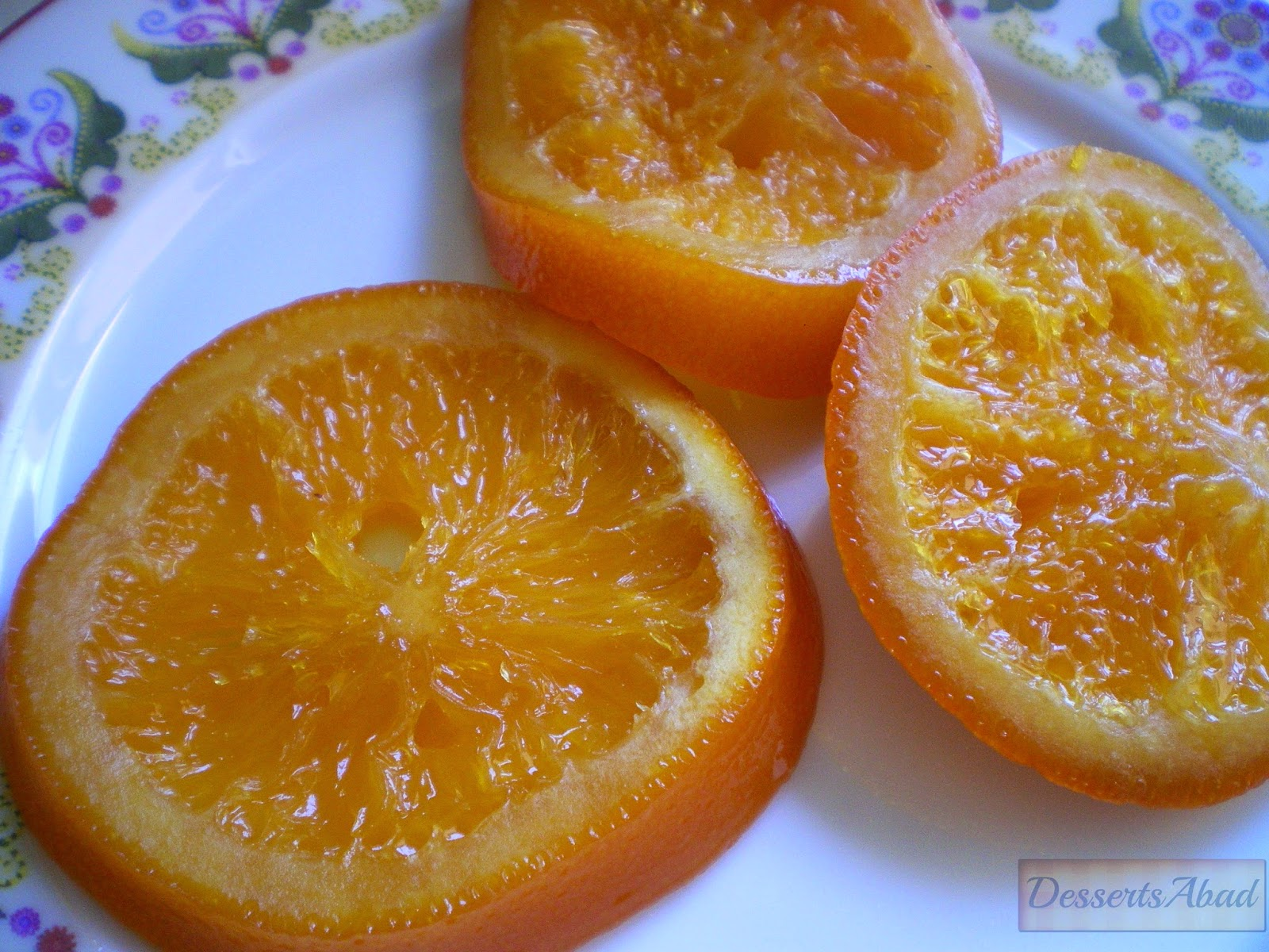 Rodajas de naranja confitada