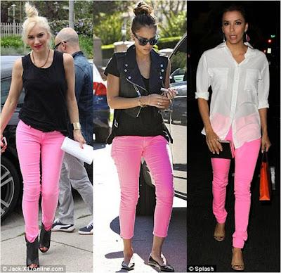 Celebrities Pink Jeans