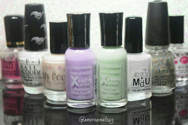 Duri Rejuvacote, O.P.I. Angel With A Lead Foot, Bliss Kiss Simply Peel Latex Barrier, Sally Hansen Xtreme Wear Lacey Lilac, Sally Hansen Xtreme Wear Mint Sorbet, Mundo De Unas White, China Glaze Fairy Dust, Glisten & Glow HK Girl Fast Drying Top Coat