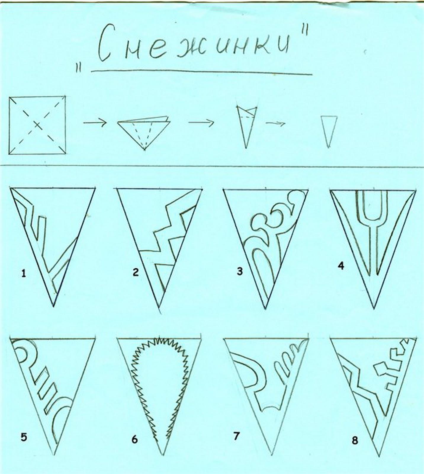 Простая схема снежинок из бумаги своими руками