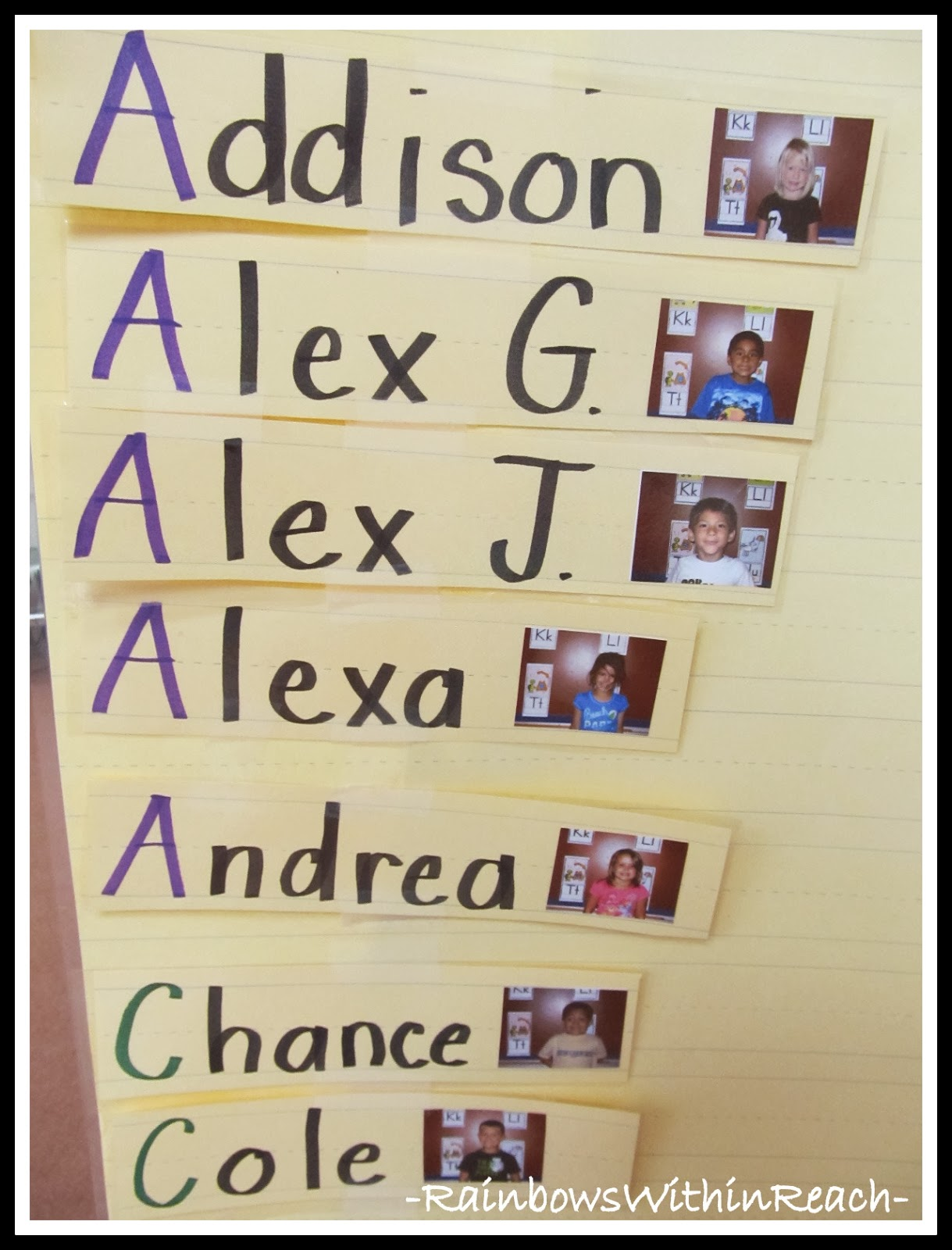 Alphabetizing Student Names with Photos
