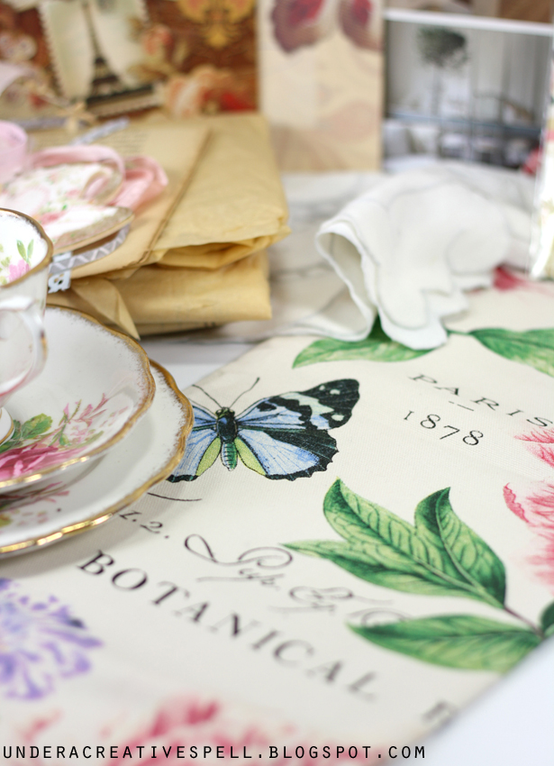 Beautiful shabby vintage tea towel