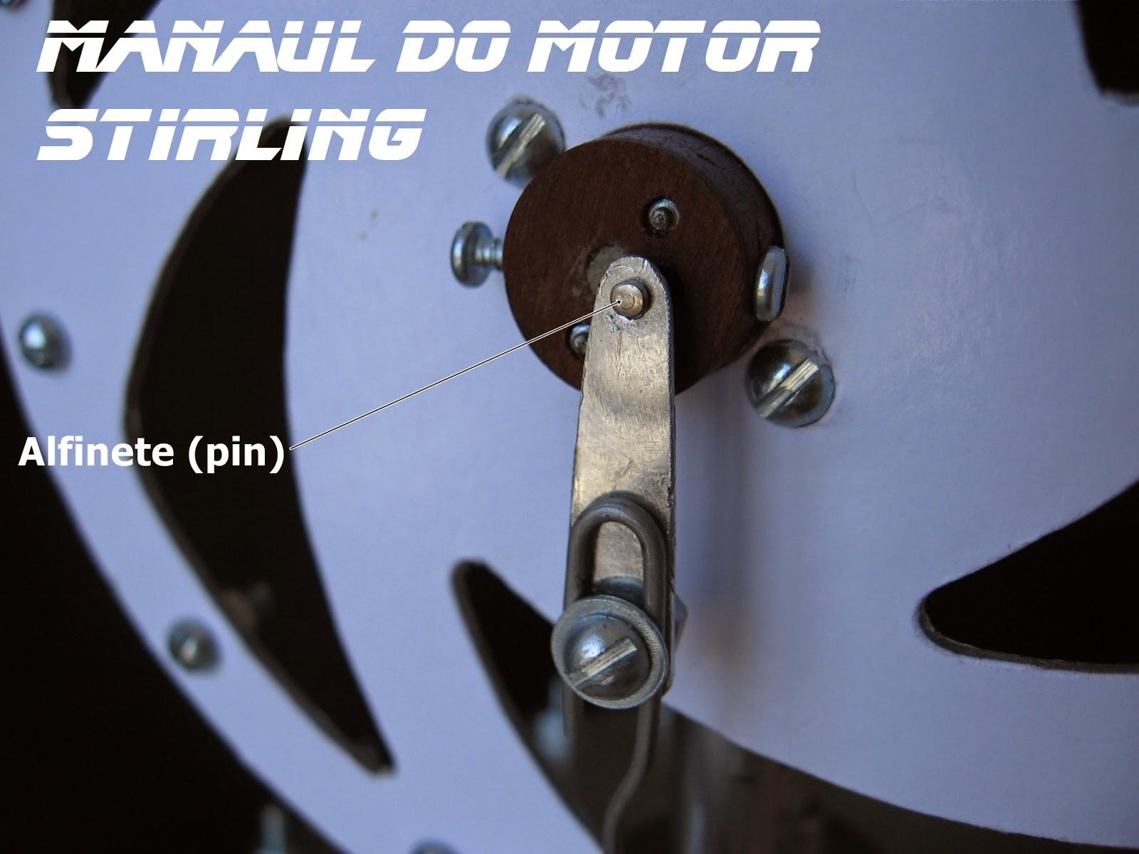 Motor Stirling LTD Gama caseiro, uso de alfinete na manivela do virabrequim