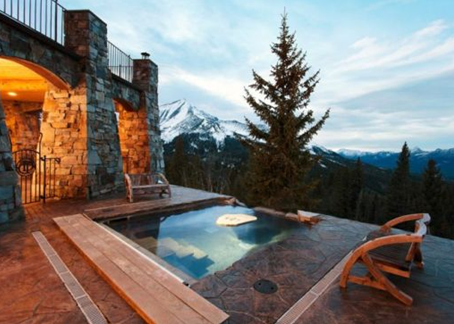 hot tub poolin yellowstone club real estate property in blue sky montana