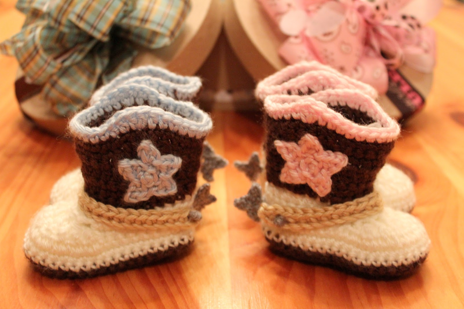 Free Crochet Patterns For Baby Girl Bonnets : Crocheted Cowboy Boots & Breakfast Basket