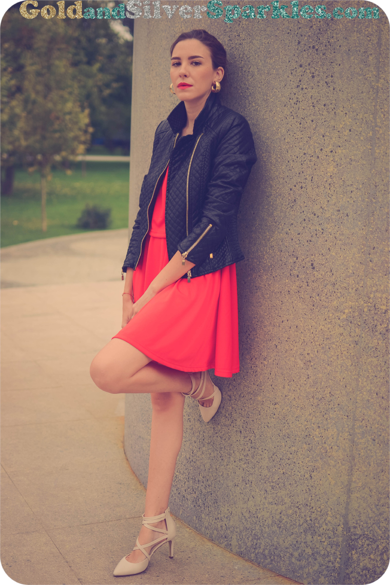 leather jacket and red dress