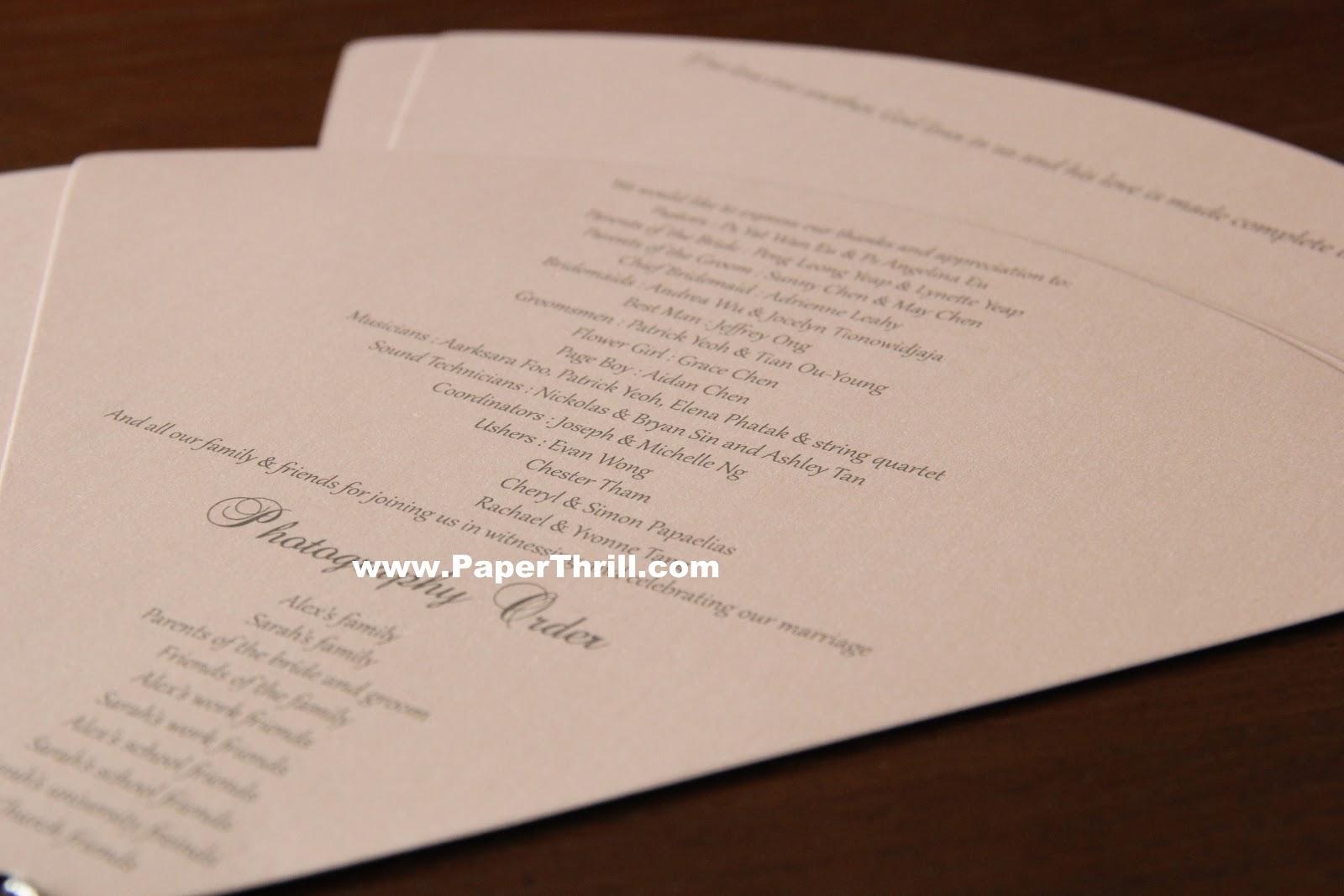 Sarahs Church Program Malaysia Wedding Invitations Greeting Cards And Bespoke Cards