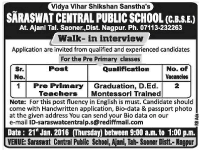 Saraswati Central Public School Recruitment 2016