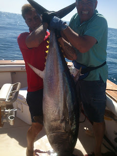 trolling fishing, deep sea. Charter fishing boat Marbella.
