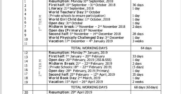 school calendar lagos state year 2018 2019 academic year island builders baptist school