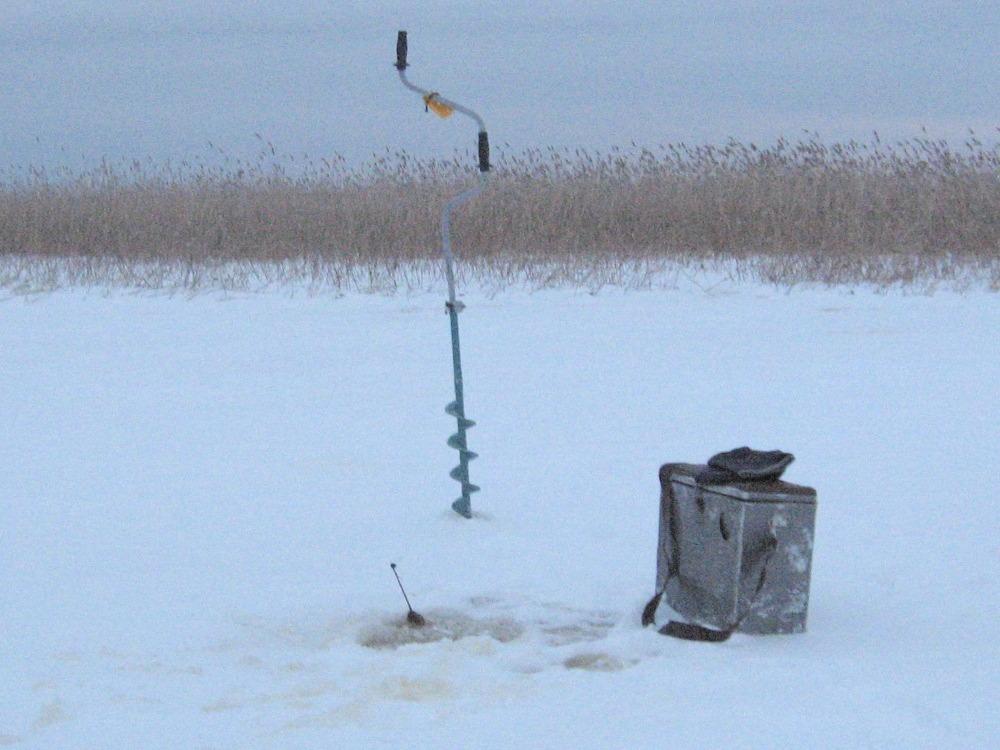 На зимней рыбалке у тростника