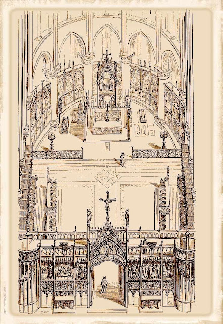 Coro e altar mor de Notre Dame na Idade Média, desenho de Viollet-le-Duc