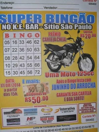 ESSE BINGÃO SERÁ DIA 17/08/2014 NO K.E - BAR