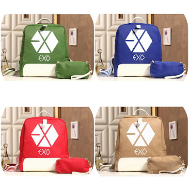 K - POP BACKPACK ( 2 IN 1 SET ) - BLUE , GREEN , KHAKI , RED
