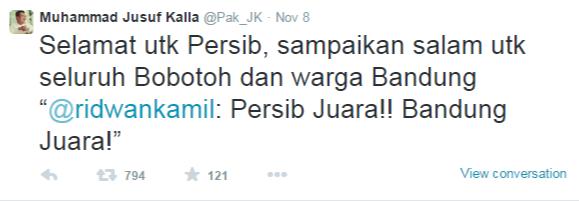 SBY & JK Ucapkan Selamat kepada Persib Bandung