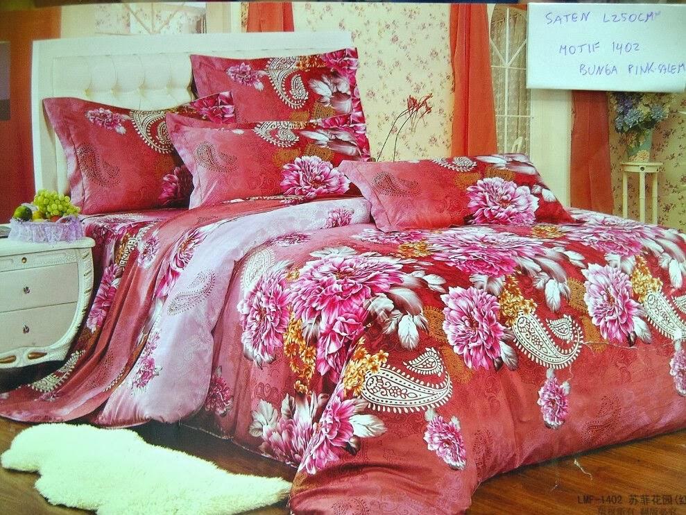 Sprei Motif Bunga Pink Salem
