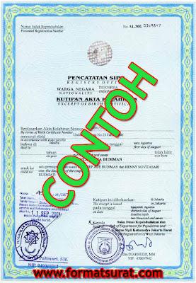 Contoh akte kelahiran resmi/legal