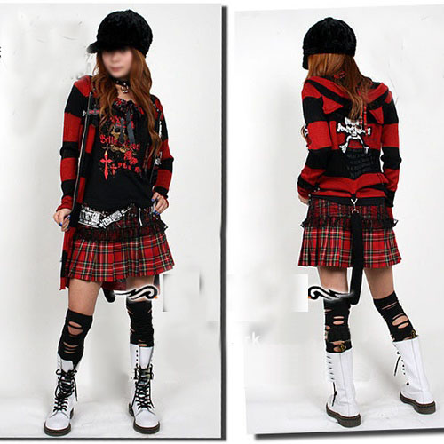 fashion Plaided Punk Clothes for Women