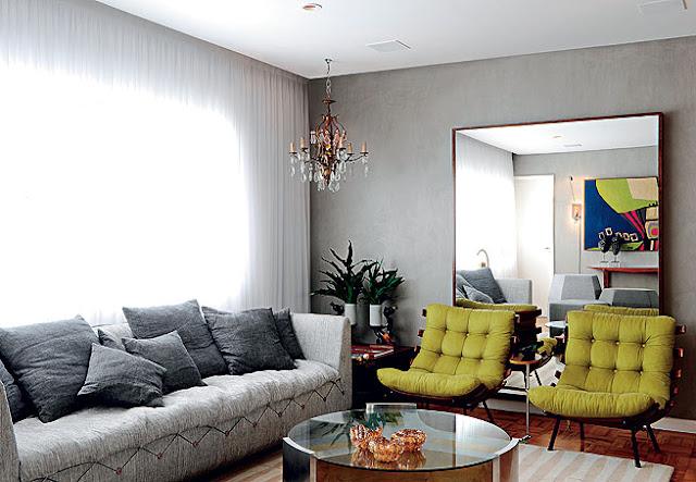Sala De Estar Cinza Com Amarelo ~ Salas Contemporâneas!!!  Jeito de Casa  Blog de Decoração