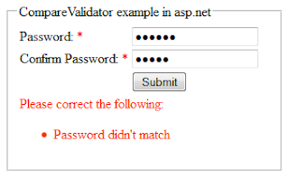 CompareValidator validation control example in asp.net