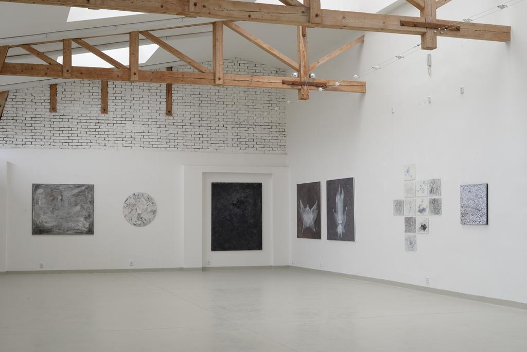 """pohled do instalace výstavy : """"Bílé noci"""", Galerie Artatak"""