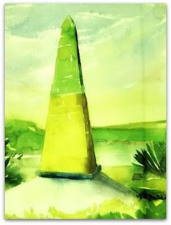 Obelisco com as cores verde e amarelo demarca fronteira com Argentina e Paraguai, em Foz do Iguaçu.