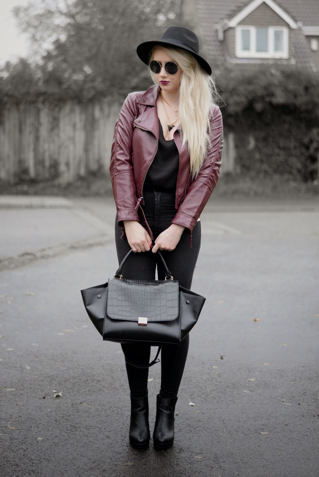 Sammi Jackson - Burgundy Leather + Fur