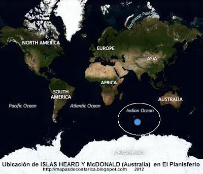 El Mundo. Ubicación de ISLAS HEARD Y McDONALD (Australia) en El Planisferio, vista aérea, BING